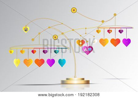 Vector infographic template 3D with heart form hanging and iconBusiness concept with options.For contentdiagramflowchartsteps partstimeline infographics workflow layout chartVector illustration