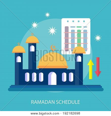 Ramadan Schedule Conceptual Design | Set of great flat design illustration concepts for religion, ramadan, islamic and much more.