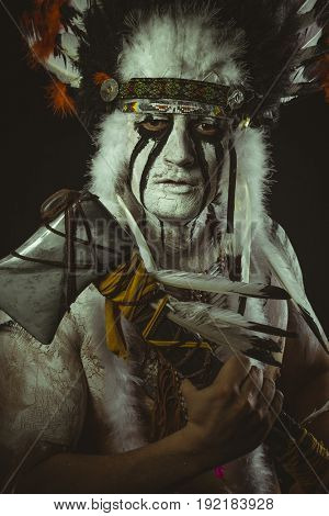 Aboriginal, American Indian with plume of feathers, ax and war paintings