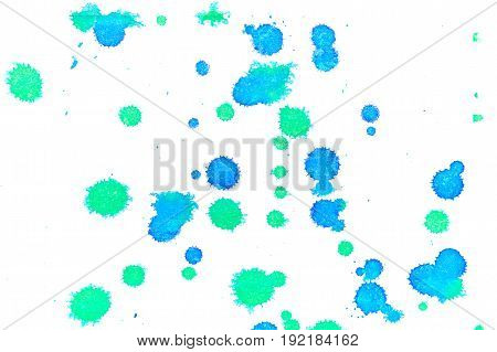 Abstract two-color blue green ink splash. Ink blots. Elements of design. The water-soluble ink on white paper Leste. Abstract art