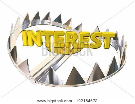Interest Steel Bear Trap Caught Paying High Fees, 3d Illustration