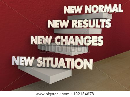 New Normal Situation Changes Results Steps, 3d Illustration