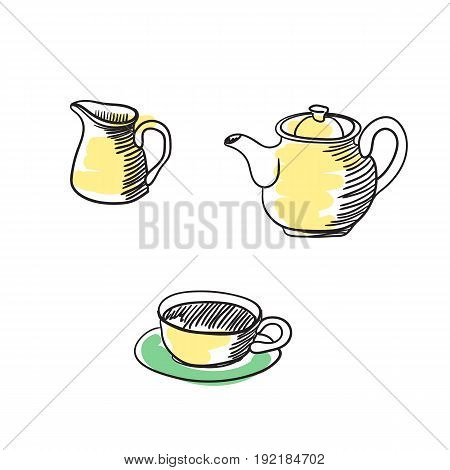 Tea service hand drawn isolated icon. English culture element, patriotic vector illustration.