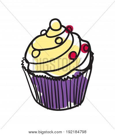 English dessert hand drawn isolated icon. Great Britain culture element, patriotic vector illustration.