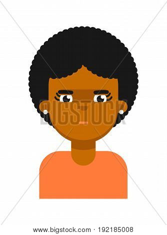Thoughtful facial expression of black girl avatar. Young african woman face, people emoticon icon, emoji vector illustrations isolated on white background.