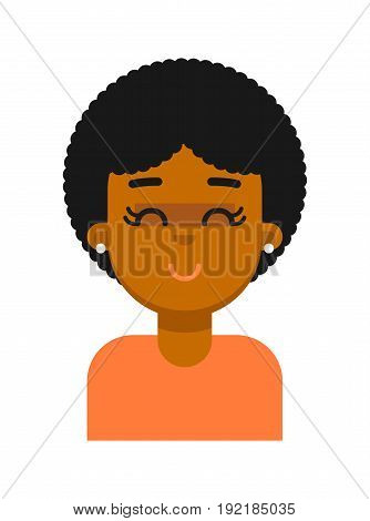 Satisfied facial expression of black girl avatar. Young african woman face, people emoticon icon, emoji vector illustrations isolated on white background.