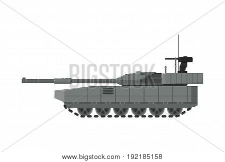 Modern army tank isolated icon. Military technics object, army force heavy equipment, armored corps machinery vector illustration in flat design.