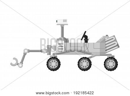 Modern mars rover isolated icon. Astronautics and space technology object, spacecraft vector illustration in flat design.
