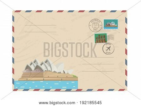 Australian vintage postal envelope with modern architectural composition, postage stamps and postmarks on white background vector illustration. Airmail postal services. Envelope delivery.