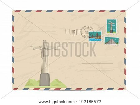 Brazilian vintage postal envelope with famous architectural composition, postage stamps and postmarks on white background vector illustration. Airmail postal services. Envelope delivery.