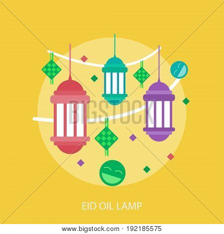 Eid Oil Lamp Conceptual Design | Set of great flat design illustration concepts for religion, ramadan, islamic and much more.