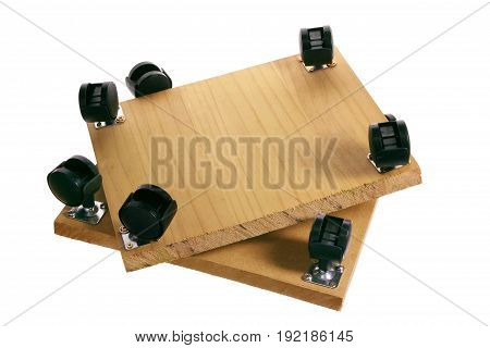 Wooden Pallet with Wheels on White Background