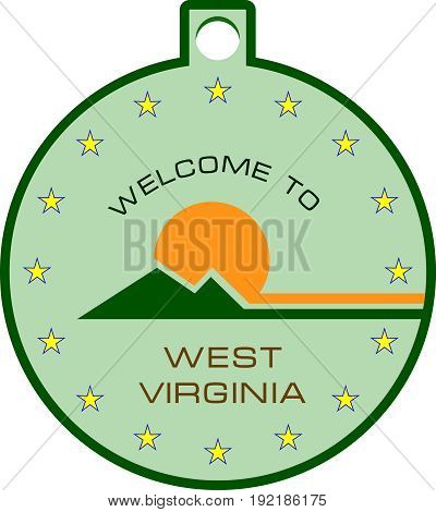 Round label with symbols welcome to West Virginia