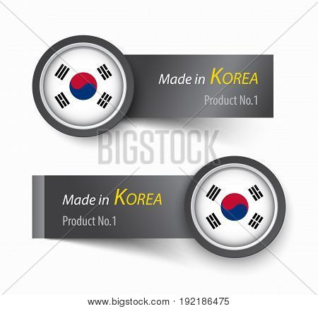 Flag icon and label with text made in South Korea .