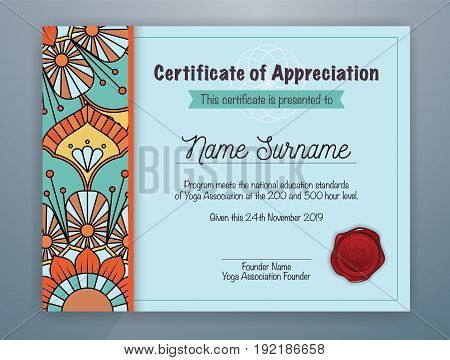 Cyan Mandala Bordered Certificate of Appreciation Template Design for Yoga class. Vector illustration