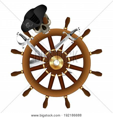 Cheerful roger on the ships wheel with sabers. Isolated object on white background.