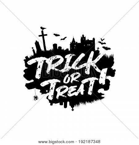 Trick or treat. Halloween. Vector illustration on a white background with a smear of ink black, castle, bats, spider, cemetery and crow. Lettering. A great holiday gift card.