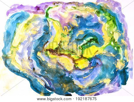Watercolor Background Painting On White Paper. Blue, Green And Yellow Abstract Texture. Color Smudge
