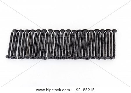 A Raw Of Black Average Size Screws On White Background