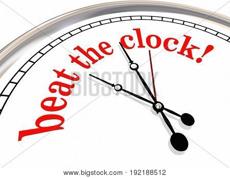Beat the Clock Deadline Record Time 3d Illustration