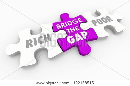 Bridge the Gap Between Rich and Poor Puzzle 3d Illustration