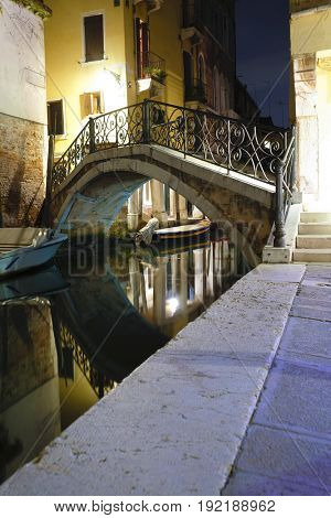 night landscape with the image of  channel in Venice, Italy
