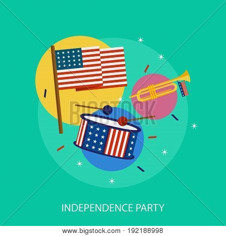Independence Party Conceptual Design | Set of great flat design illustration concepts for region, state, usa, independence and much more.