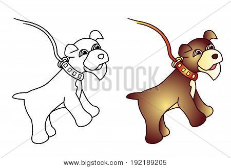 Dog vector colored illustration sketch animal with a collar
