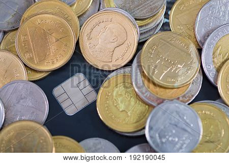 Credit card coins and money on the table. business concept. shallow focus soft tone.