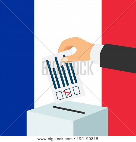 Election in France concept. Male hand putting voting paper and a ballot box with french flag on a background, flat design, vector illustration