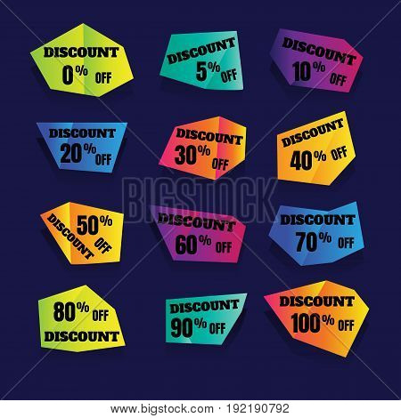 arrival label sale. Vector horizontal banner special offer. Layout with triangle elements. Abstract violet background. Design concept.