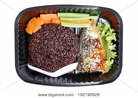 Takeaway food - Streamed riceberry rice with grilled mackerel (Saba Shioyaki) and vegetables