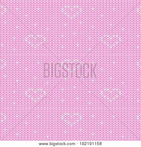 soft pink and white heart sign with spot knitting pattern background vector illustration image
