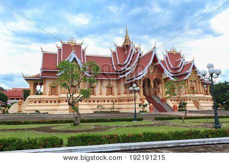 Wat Pha That Luang in Vientiane Laos.