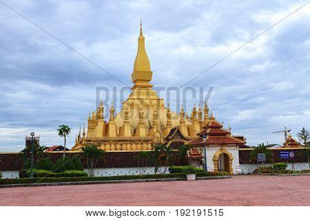 pagoda at Wat Pha That Luang landmark of Vientiane Laos.