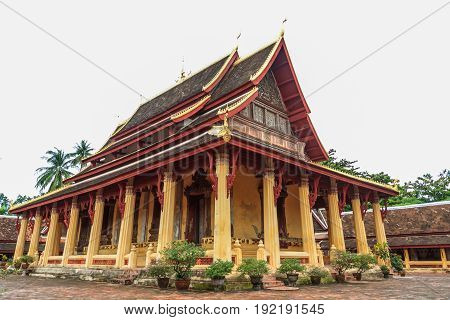 beautiful architecture buddhist temple at Wat Si Saket Vientiane Laos.