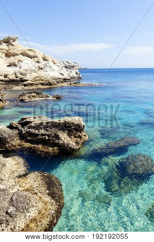 Turquoise waters of Mediterranean sea with cliffs and rocks