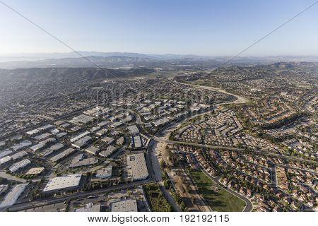 Aerial view of industrial buildings and neighborhoods in Camarillo, California.