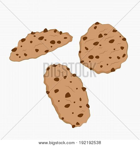three delicious cookies vector in white background