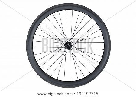 Carbon wheel for road bicycle isolated on white