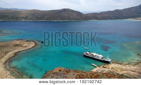 View from Gramvousa island on a Cruise ship, waiting for tourists, and a beautiful view of the water