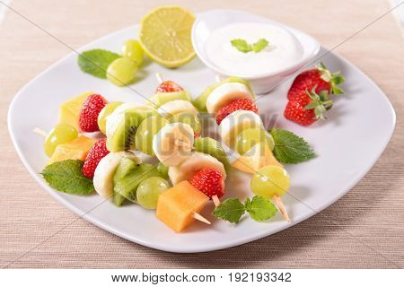 fruit skewer and sauce