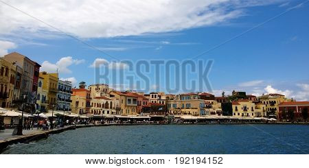 A view of the famous houses on the waterfront of Chania in Crete