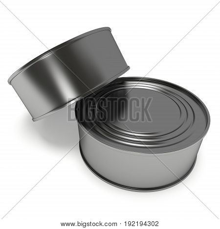 Aluminum cans. 3D render of metal canned food isolated on white.