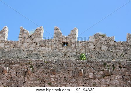 view on wall of fortress in Krk, croatia