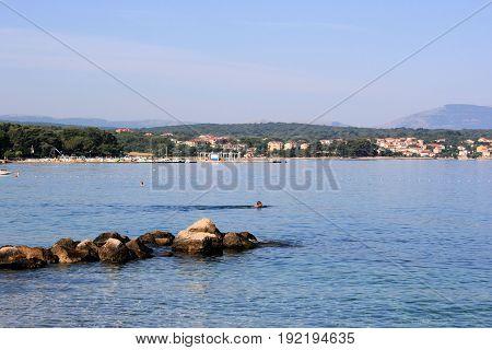 the beach in Krk on the island Krk, Croatia