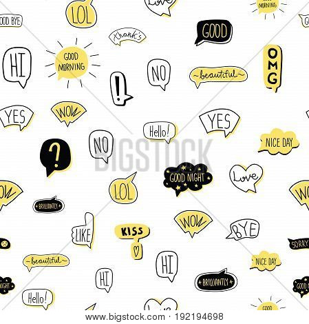 Hand-drawn speech bubble seamless pattern. Vector illustration, isolated on white background.