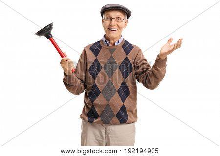 Joyful senior with a plunger isolated on white background