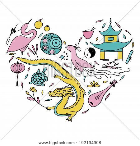 Culture Of China In The Form Of Heart. Hand Drawn Chinese Symbols. Vector Illustration.