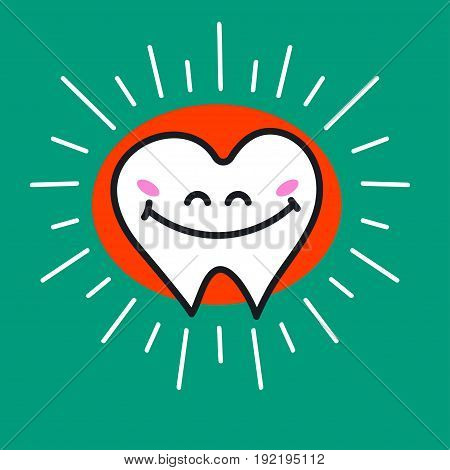 Logo of happy tooth. Icon of dentistry. Molar smiles and shines. Skok vector